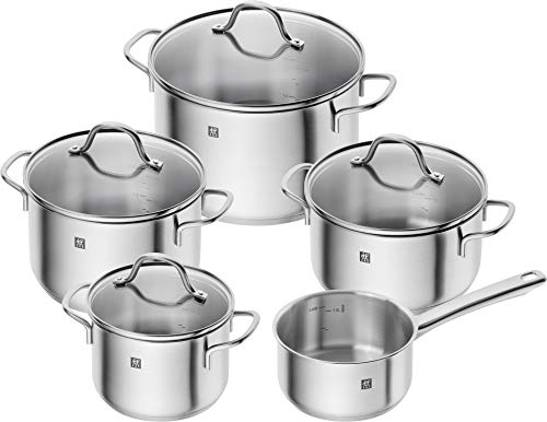 Zwilling Flow 71030-000-0 5-Piece Cookware Set Glass Lids Suitable for Induction Cookers Dishwasher Safe Rust-Free 18/10 Stainless Steel
