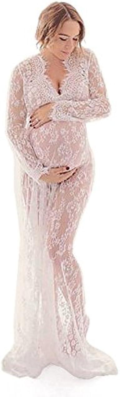 Bianco,L Andifany Puntelli di fotografia di maternita Maxi abito di maternita con scollo a V abiti in pizzo abito di gravidanza Fancy Shooting foto vestiti in gravidanza