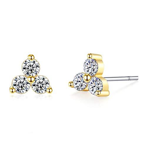 Zircon Stud Earrings,14K Gold Plated Sterling Silver Ear Post Cubic Zirconia Cute Flower Triangle Studs Earrings for Girls and ()