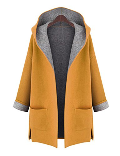 AMZ PLUS Women's Plus Loose Slimming Woolen Hooded Jacket Windbreaker Coat Yellow L
