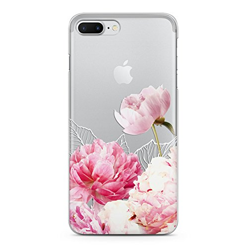 Wonder Wild iPhone Cases SE 5 5s 6 6s 7 8 Plus 10 X Clear TPU Soft Silicone Phone Cover Cute Watercolor Pink Peony Summer Design Flowers Print Nature Plant Blossom Rose Gold Leaves Floral for girls (Blossom Island Light)
