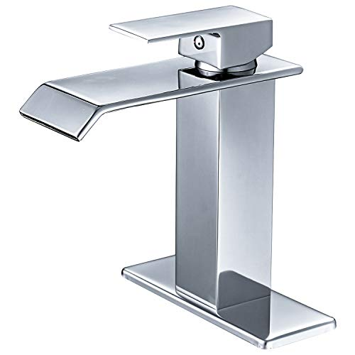 (BWE Waterfall Spout Single Handle One Hole Commercial Bathroom Sink Faucet Chrome Deck Mount)