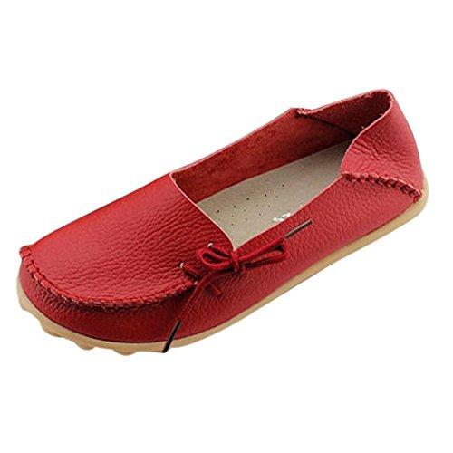 Oriskey Mocasines de cuero mujer Loafers Casual Zapatos Zapatillas Rojo