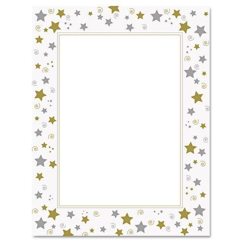 Papers Stars Terrific - Geographics 47103 Design Suite Paper, 24 lbs, Stars & Swirls, 8 1/2 x 11, White, 40/Pack