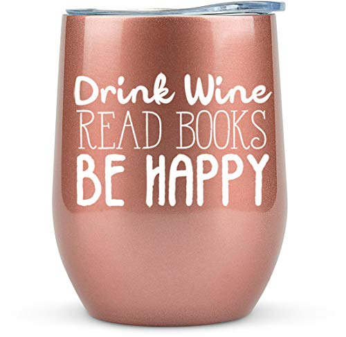 Book Lovers Gifts Women - 12 oz Wine Tumbler or Mug - Gift Idea for Book Club, Librarians, Bulk Readers, Literary, Glass, Bookworm, Reading