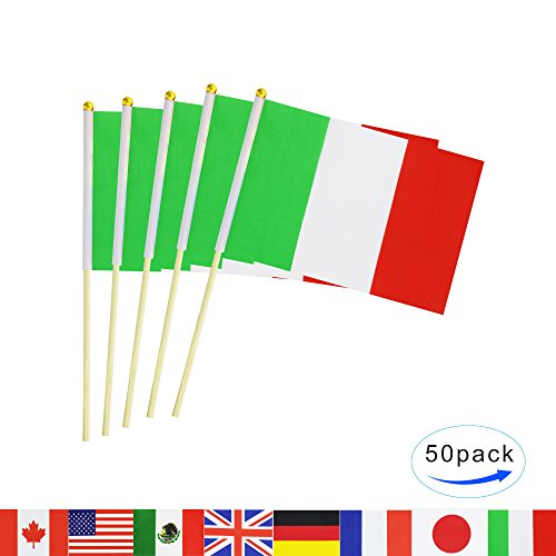 - LoveVC Italy Stick Flag,50 Pack Hand Held Small Italian National Flag With Wood Pole Mini International Countries World Flags Banner On Stick,Party Decorations For Parades,Olympic,School Sport Events