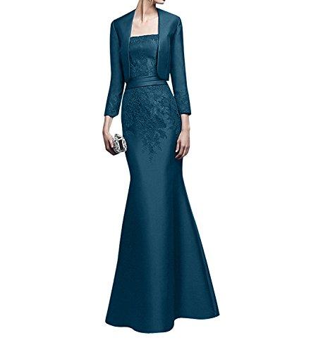 Lang Spitze Glamour Etuikleider Abendkleider Dunkel Jaket Damen Charmant Brautmutterkleider Trumpet Satin mit Blau Festlichkleider qXn6CwvxZ