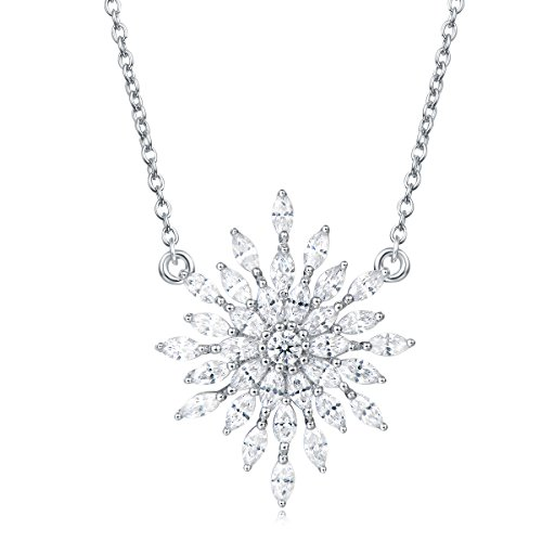 Carleen Sterling Silver Diamond Snowflake Necklace Pendant Dainty Necklace Drop Pendant With Cubic Zirconia