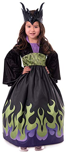 (Little Adventures Dragon Queen Dress Up Costume with Soft Crown (Large Age)