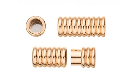 (2Pcs Swirl Tube Shape Magnetic Jewelry Clasps Glue-In Ends - Gold Finished 9x20mm)