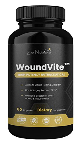 WoundVite Powerful Chronic Wound Care & Scar Reduction Product - Wound Healing Supplement - Scar Treatment - 100% Natural & GMO Free - 60 Caps (Wound Care Healing)