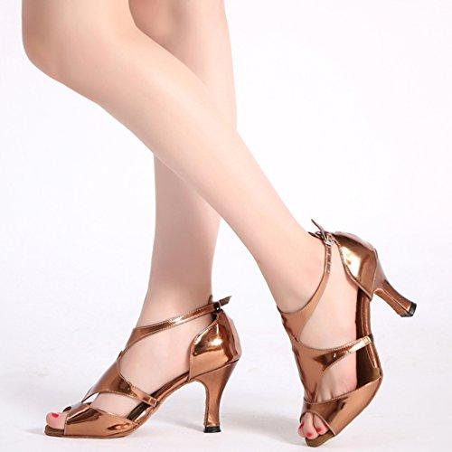 Tda Tacones Altos Para Mujer Peep Toe Cut-out Salsa Tango Samba Rumba Zapatos De Boda Modernos De Baile Latino Rose Gold-7.5cm Heel
