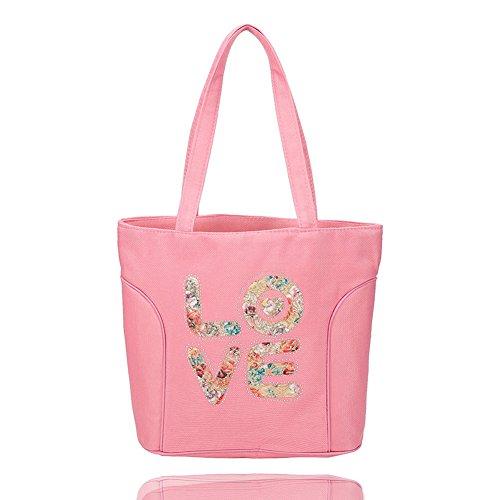 Tote Girl Canvas (Lady's Stripes Shopping Shoulder Handbag Canvas Bag Tote Purse, Multifunctional Casual Handbag for Women Girls Ladies, Large Capacity (Pink))