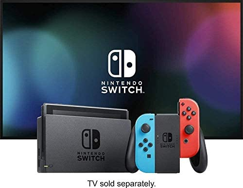 "Newest Nintendo Switch with Neon Blue and Neon Red Joy-Con - 6.2"" Touchscreen Display, 32GB Internal Storage - Family Christmas Holiday Gaming Bundle w/CUE Accessories"
