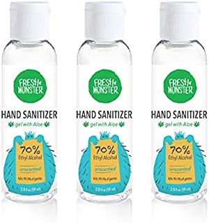 product image for Fresh Monster Hand Sanitizer, 70% Ethyl Alcohol, Made in USA, Mini Travel size (3 Pack x 2 oz) - Unscented