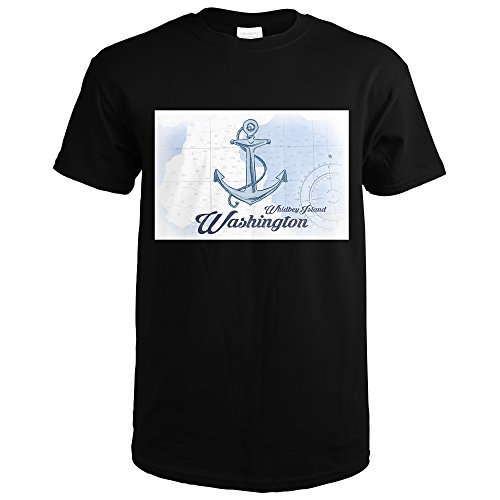 Whidbey Island, Washington - Anchor - Blue - Coastal Icon (Black T-Shirt Medium)