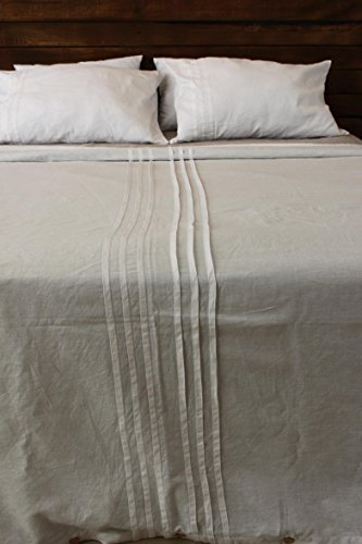 White pure linen duvet cover, with pleats decor, queen, twin, king and full sizes