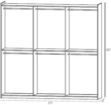 Desconocido Armario a 3 Puertas 273 x 64 x h247 correderas Valentini Camera de Cama Art. va761: Amazon.es: Hogar