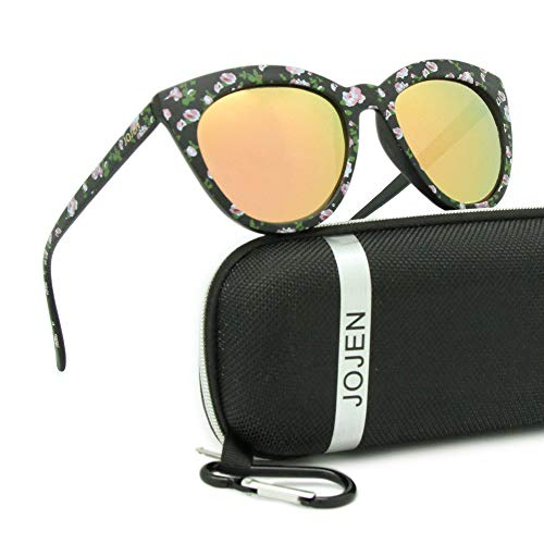 JOJEN Polarized Sunglasses for Women's Cat Eye Retro Ultra Light Lens TR90 Frame JE003(Floral Frame Pink REVO Lens)