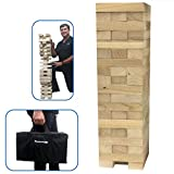 EasyGoProducts Large Giant Wood Stacking & Tumble Tower Blocks Game, Starts at 21'' Tall & Grows to 4' Tall When Playing!