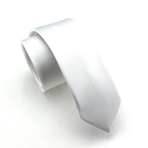 Elviros Mens Eco-friendly Fashion Solid Color Slim Tie 2.4'' (6cm) White