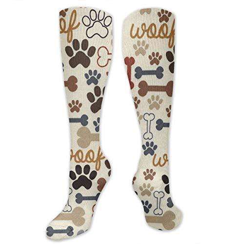 MSONNET Novelty Fashion Dog Bones Paw Prints Cream 3D Printed Athletic Socks Extra Long Socks Knee High Socks for Men Women Boys Girls Outdoor Activities