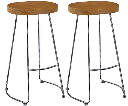BTEXPERT 5084 Vintage Barstool Industrial 30 inch Antique Rebar Counter Bar Height Bistro Pub Stool Saddle Wood Set of 2