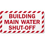 "Building Main Water Shut-Off, Adhesive Signs and Labels, 10"" x 5"""