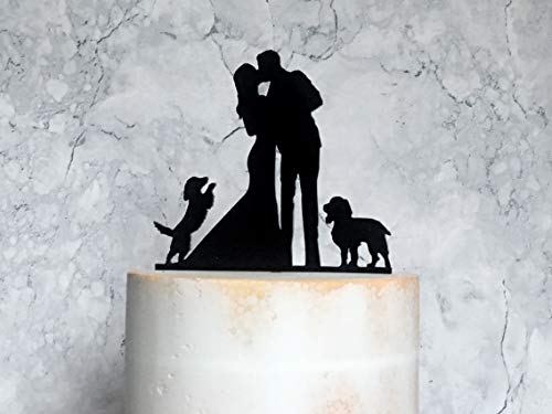 659ParkerRob Wedding Cake Toppers Bride Groom Cocker Spaniel Silhouette with 2 Dogs, Dog Cake Decoration