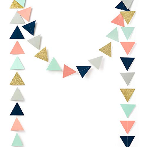 Paper Garland Decorations, Triangle Bunting Garland, Tribe Party Banner (Gold Glitter, Navy Blue, Mint, Gray, Coral) for Wedding Decor, Birthday Party, Baby Shower, Bridal Shower, 10 Feet]()