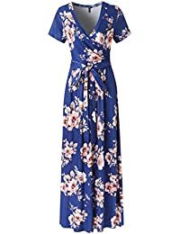 Womens Vintage Floral Print Short Sleeve Maxi Long Party...
