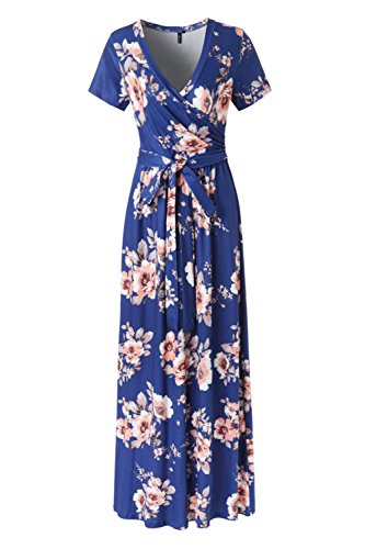 KRANDA Womens Vintage Floral Print Short Sleeve Maxi Long Party (Print Short Sleeve Skirt)