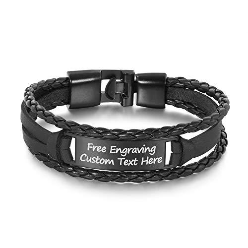 GAGAFEEL Leather Cuff Bracelet Braided Rope Custom Engraved Logo Stainless Steel Bangle DIY Xmas Gift (Black#2)