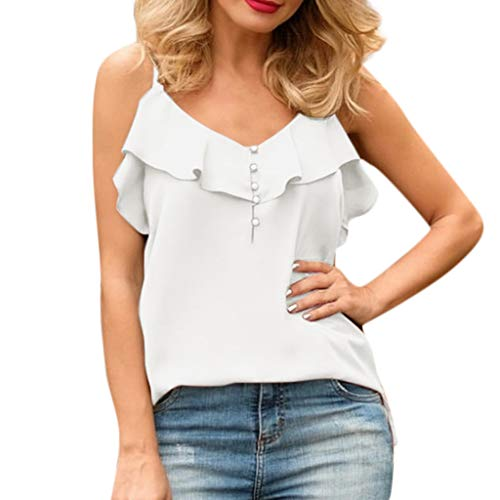 Women's Tops Solid Sleeveless V-Neck Tops Ruffle Button Sexy Camisole Blouse White