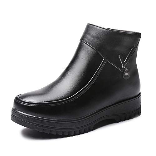 satisfied Women's Winter Warm Leather Snow Boots(Black-36/5.5 for sale  Delivered anywhere in USA