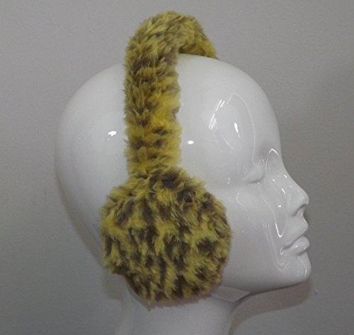 Adjustable Earmuffs, Ear Warmers - Yellow Animal Print Faux Fur