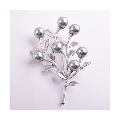 Price comparison product image Winter's Secret Grey Pearl Tree Branch Plant Series Brooch Pin Fashion Cloth Accessory