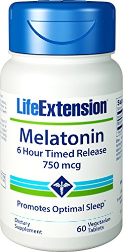 Time Released 100 Tablet (Life Extension Melatonin Time Released Vegtetarian Tablets, 750 mcg, 100 Count)