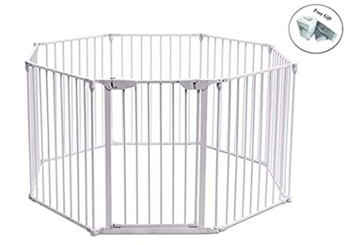 8 Panels Metal Gate Baby Pet Fence Safe Playpen Barrier White Only by eight24hours + Special Gift