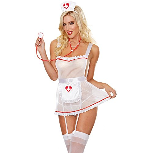 Dreamgirl Women's Sheer Nurse Costume Set, White, One Size