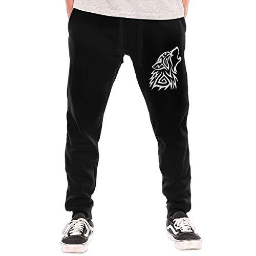 Mens Jogger Sweatpants Tribal Wolf Howl Close Bottom Fleece Pants Black ()