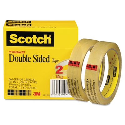 Double Sided Tape, 3/4'' x 1296'', 3'' Core, Transparent, 2/Pack, Total 12 PK, Sold as 1 Carton