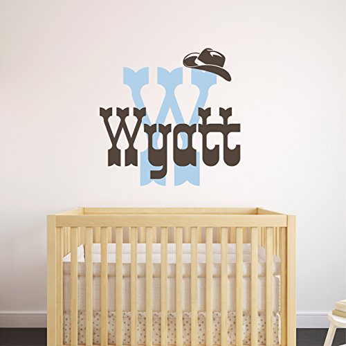 Custom Name Rodeo Cowboy Wall Decal - Boys Personalized Name Cowboy Wall Sticker - Custom Name Sign - Custom Name Stencil Monogram - Boys Room Wall ()