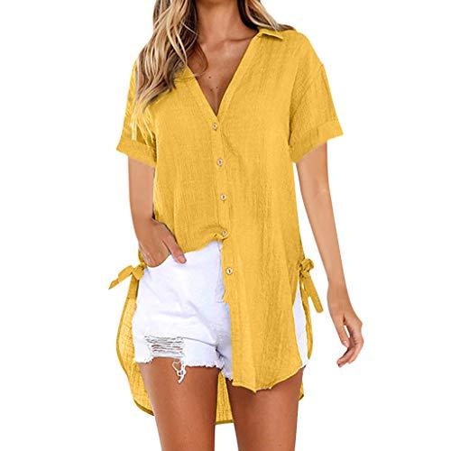 Emimarol Women Blouse Loose Button Plus Size Long Shirt Dress Cotton Tops Summer T-Shirt 2038 Yellow