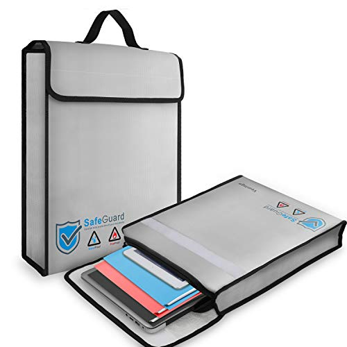 """Vemingo Fireproof Document Bag Anti-Irritation Silicone Coated Fire Water Resistant Money Bag Fireproof Safe Storage 15.8"""" x 12.6"""" x 3"""" for Money, Documents, Jewelry, Passport and Laptop (Grey)"""