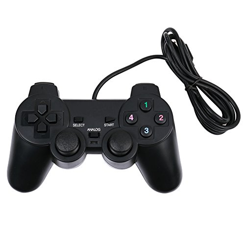 Baigeda Plug and Play Game Controller with USB 2.0 Wired Dual Shock D Input Joypad, 4.9-Feet (1.5 Meters) USB Cable, Black For Sale