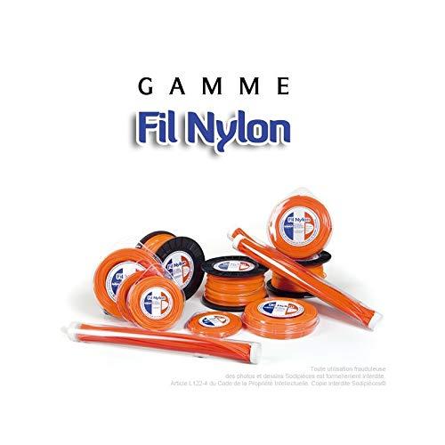 Fil d/ébroussailleuse nylon carr/é 4mm par 25m en coque couleur orange