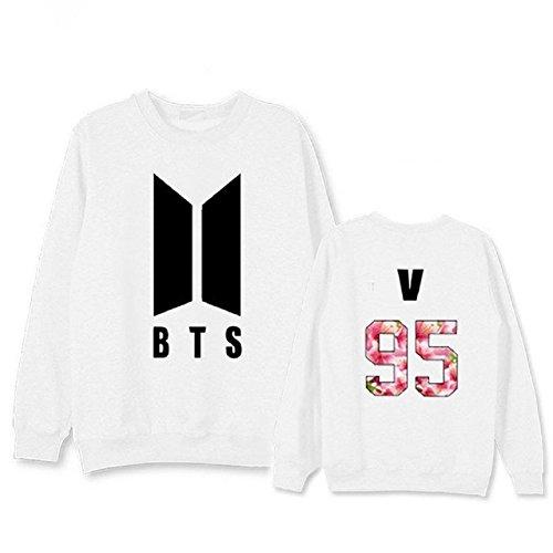 mainlead Kpop BTS New Logo Bangtan Boys Hoodie Bon Voyage S2 Sweatershirt Army Athleisure(V, X-Large, White)