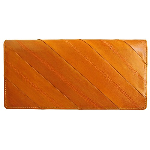 Rainbow Women's Genuine Eel Skin Leather Diagonal Slim Wallet Credit Cards Coin Purse (Dark orange)