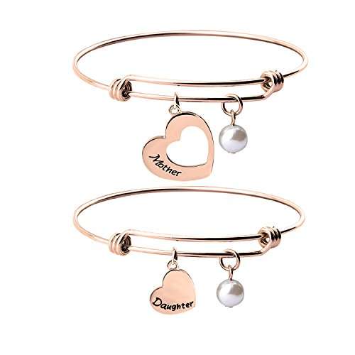 KUIYAI Mother Daughter Bracelet Set of 2 Matching Heart Mom and Me Jewelry (Mother Daughter Bracelet RG) ()